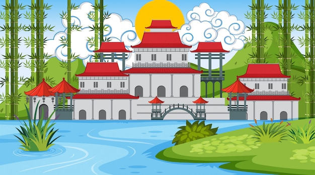 Une scène en plein air avec un château asiatique