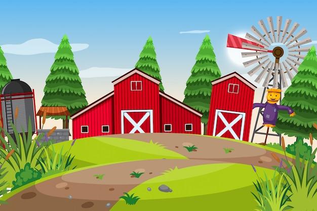 Une scène en plein air avec une ferme