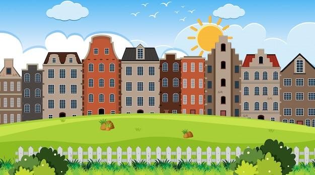 Une scène en plein air avec une maison d'amsterdam