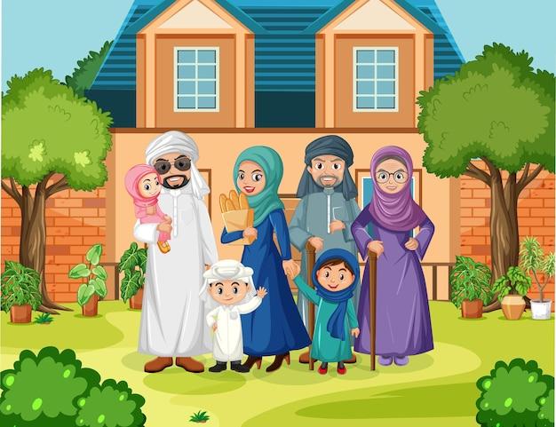 Scène en plein air avec un membre de la famille arabe
