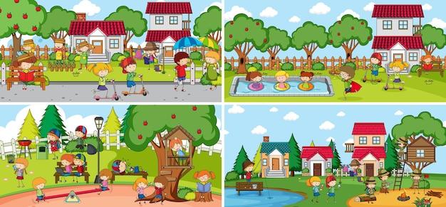 Scène En Plein Air Avec De Nombreux Enfants Doodle Personnage De Dessin Animé Vecteur gratuit