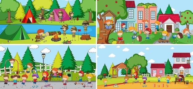 Scène en plein air avec de nombreux enfants doodle personnage de dessin animé