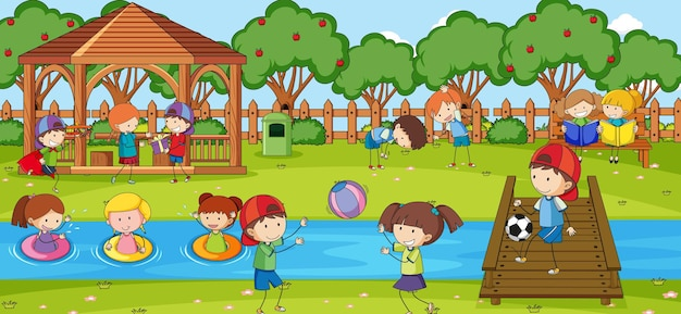 Scène en plein air avec de nombreux enfants jouant dans le parc