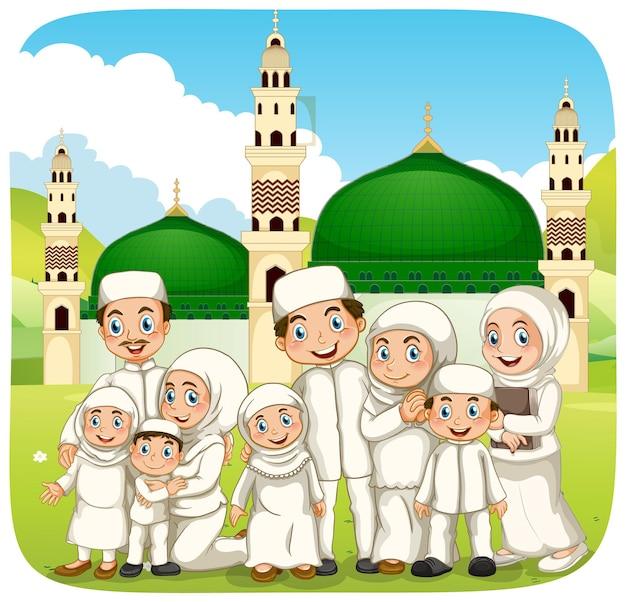 Scène en plein air avec personnage de dessin animé de famille musulmane