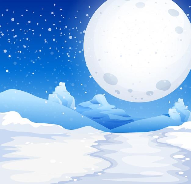 Scène de pleine lune dans la nuit enneigée