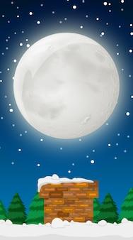 Scène avec la pleine lune en hiver