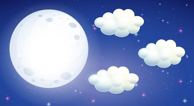 Scène avec la pleine lune et les nuages