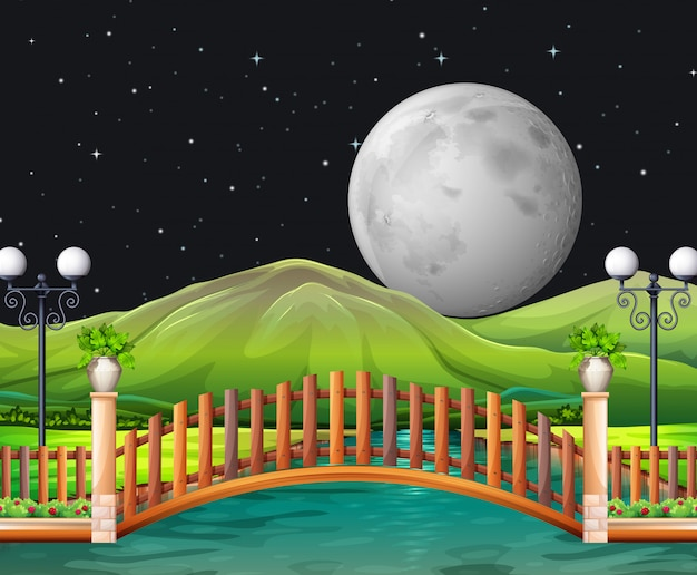 Scène avec la pleine lune et le parc