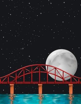 Scène avec pleine lune sur la rivière