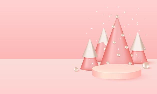 Scène de podium de noël rose pour l'affichage des produits