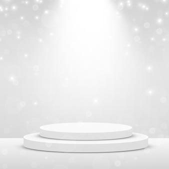 Scène de podium pour la cérémonie de remise des prix éclairée par les projecteurs. concept de cérémonie de remise des prix. toile de fond de scène. illustration vectorielle