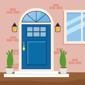Scène de porte bleue