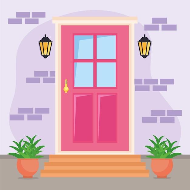 Scène de porte d'entrée rose