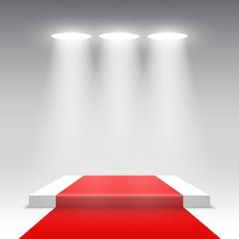 Scène pour la cérémonie de remise des prix. podium carré blanc avec tapis rouge. piédestal. .