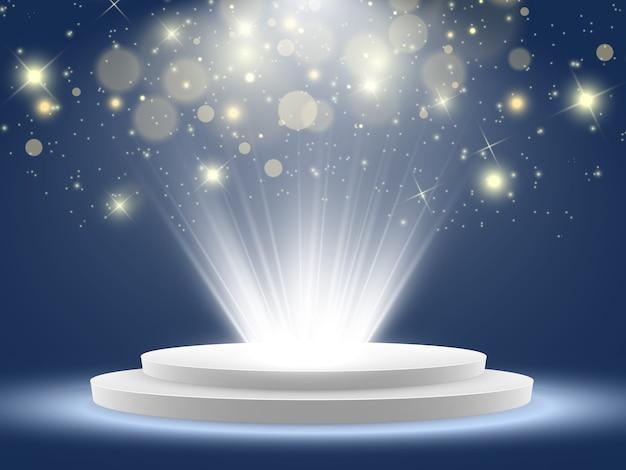 Scène pour la cérémonie de remise des prix. podium à la lumière dans les étoiles.
