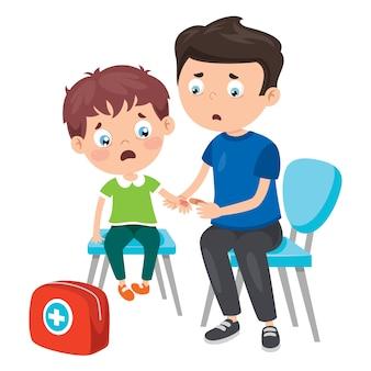 Scène de premiers soins avec personnage de dessin animé