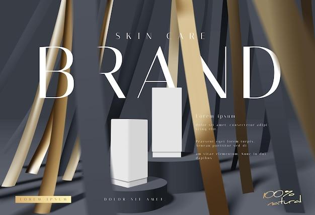 Scène de présentation de produits cosmétiques de luxe noir et or