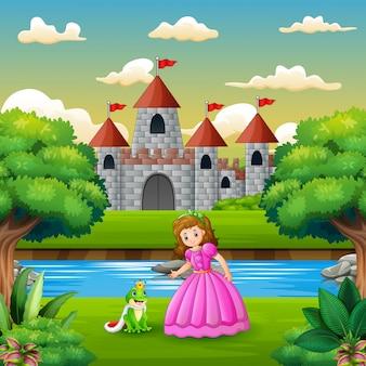 Scène avec prince grenouille et princesse au bord de la rivière