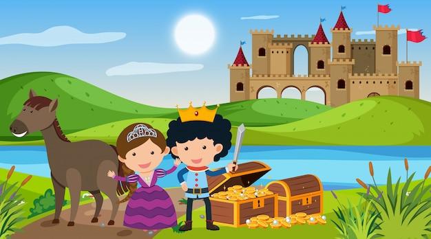 Scène avec prince et princesse au pays des contes de fées