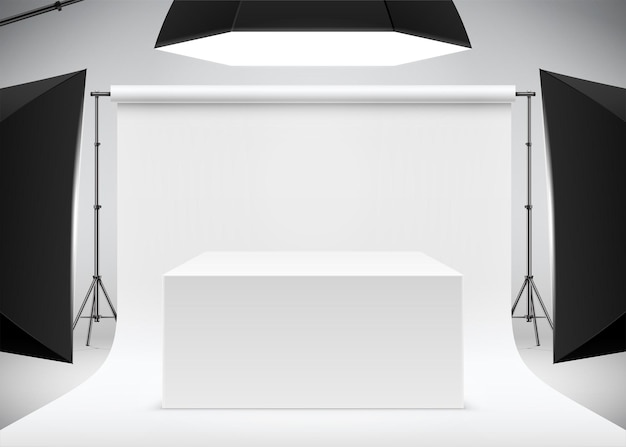 Scène de prise de vue de produit professionnel avec illustration vectorielle réaliste de table de boîte blanche