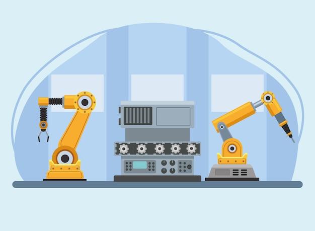 Scène de production de trois machines