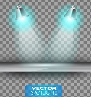 Scène de projecteurs avec différentes sources de lumière pointant vers l'étagère