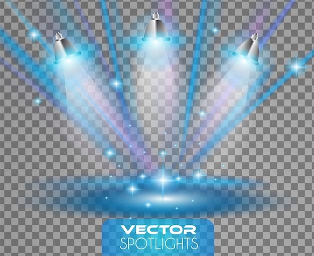 Scène de projecteurs avec différentes sources de lumière pointant vers le sol ou une étagère.