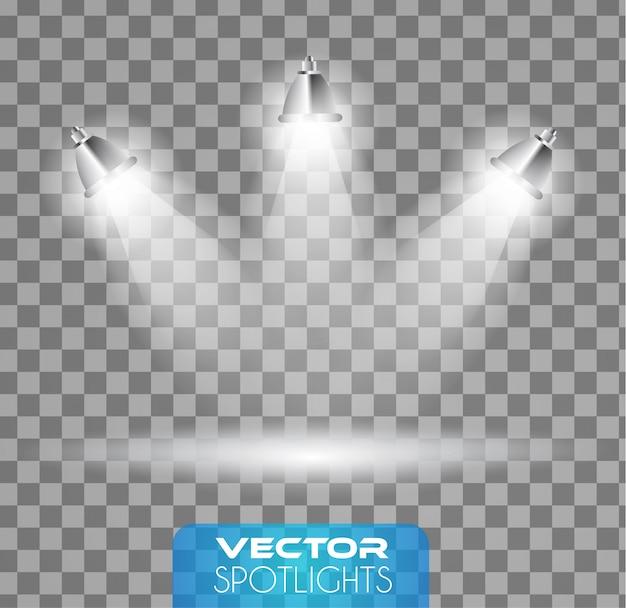 Scène de projecteurs avec différentes sources de lumière pointant vers le sol