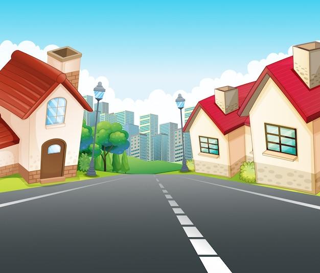 Scène de quartier avec de nombreuses maisons le long de la route