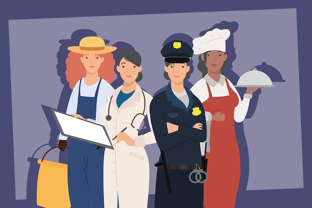 Scène de quatre travailleurs professionnels