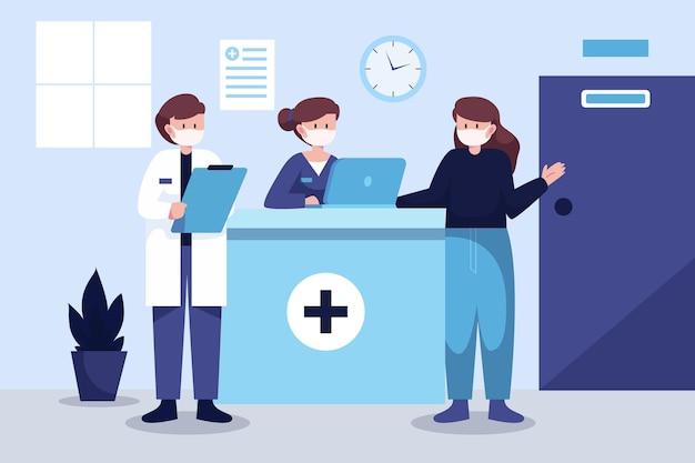Scène de réception à l'hôpital dessiné à la main