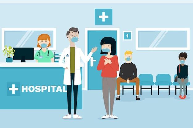Scène de réception d'hôpital dessinée à plat