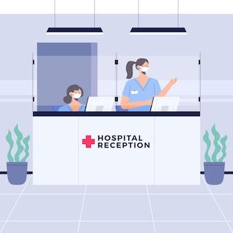 Scène de réception à l'hôpital avec des personnes portant des masques faciaux