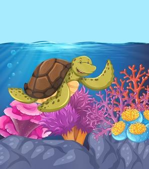 Scène de récif sous-marin de tortue heureuse