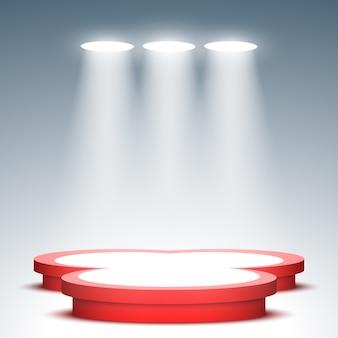 Scène de remise des prix. podium rouge et blanc avec projecteurs. piédestal. scène.