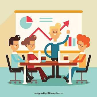 Scène de réunion d'affaires dans la conception plate