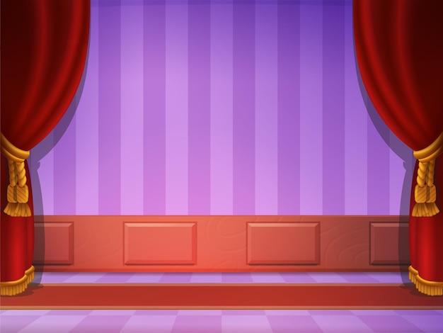 Scène avec rideau rouge