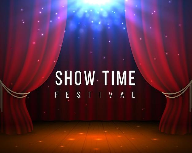 Scène avec des rideaux rouges. fond de cinéma et d'opéra fermé avec drapé rouge et projecteurs.