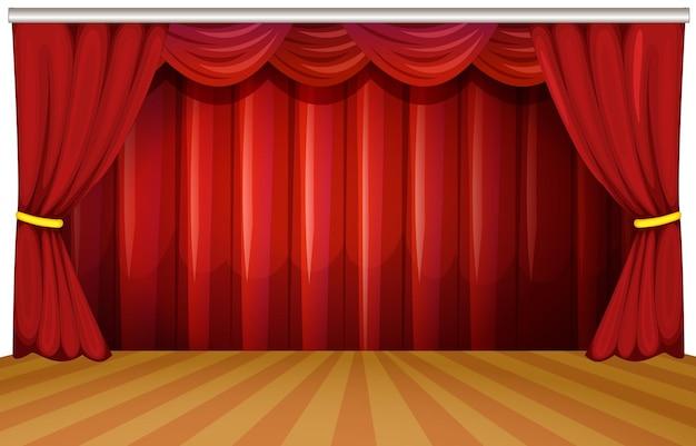 Scène avec rideaux rouges