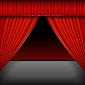 Scène avec des rideaux rouges