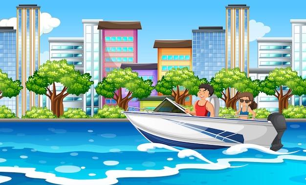 Scène de rivière avec un couple sur un bateau rapide