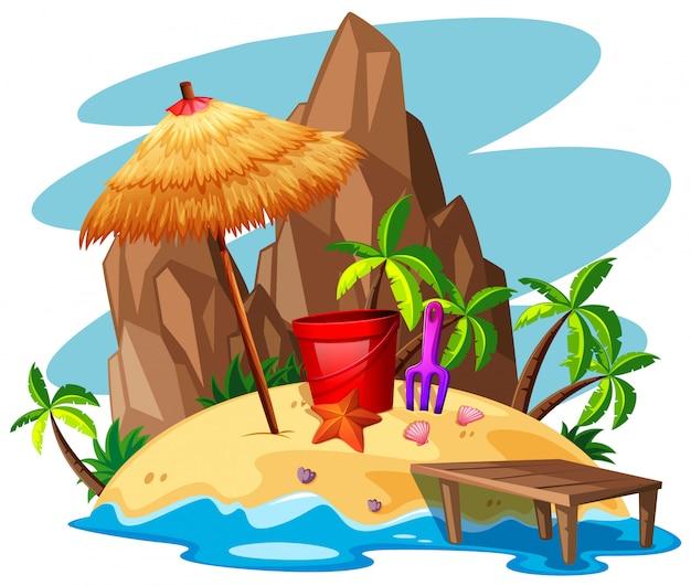 Scène avec rock et plage sur l'île