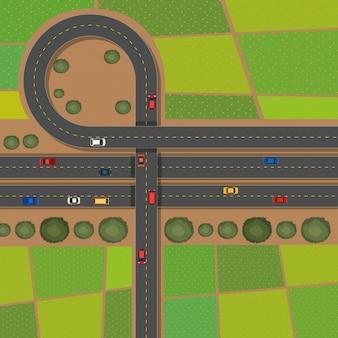 Scène avec des routes et des terres agricoles