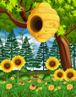 Scène avec ruche sur l'arbre