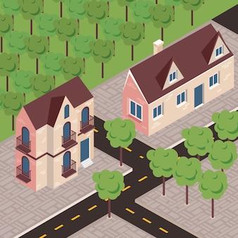 Scène de rue de maisons