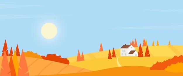 Scène rustique de paysage de campagne de village d'automne avec la maison de ferme parmi des champs sur des collines