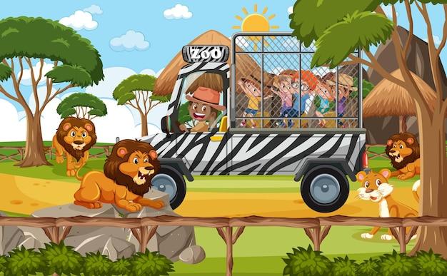 Scène de safari avec des enfants sur une voiture de tourisme regardant un groupe de lion