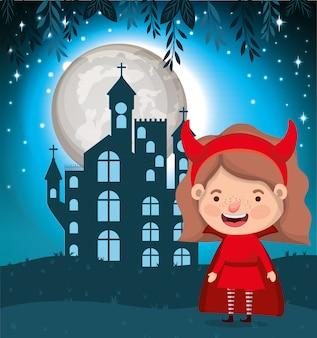 Scène de saison d'halloween avec le diable en costume fille
