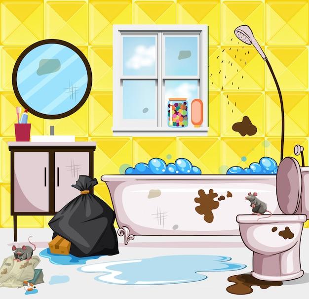 Scène de salle de bain très sale