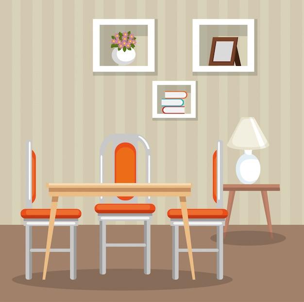 Scène de la salle à manger élégante